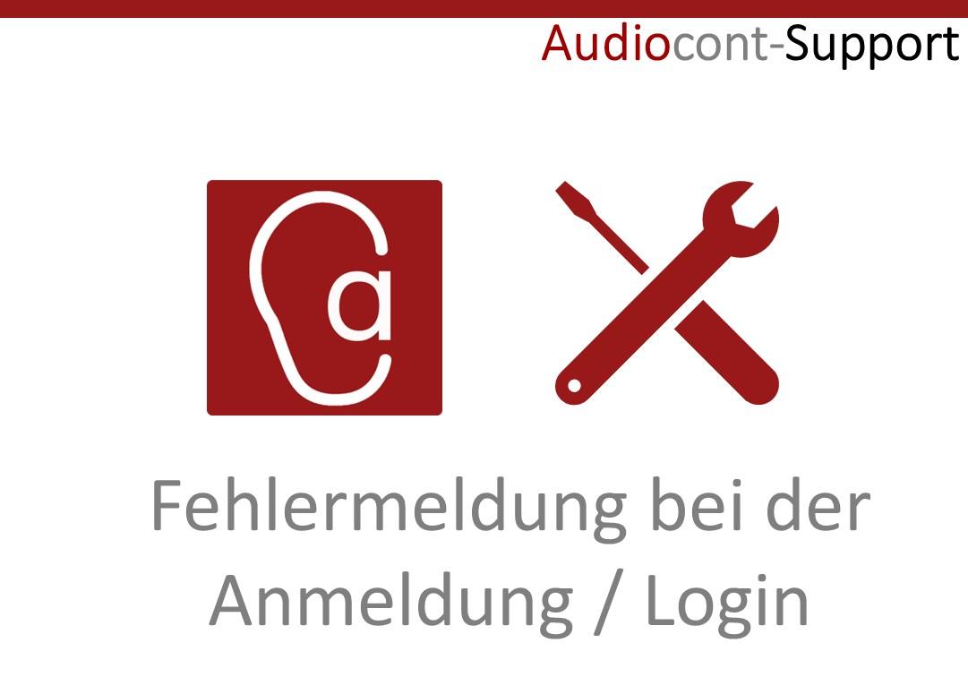 Fehler bei der Anmeldung in der App Audiocont