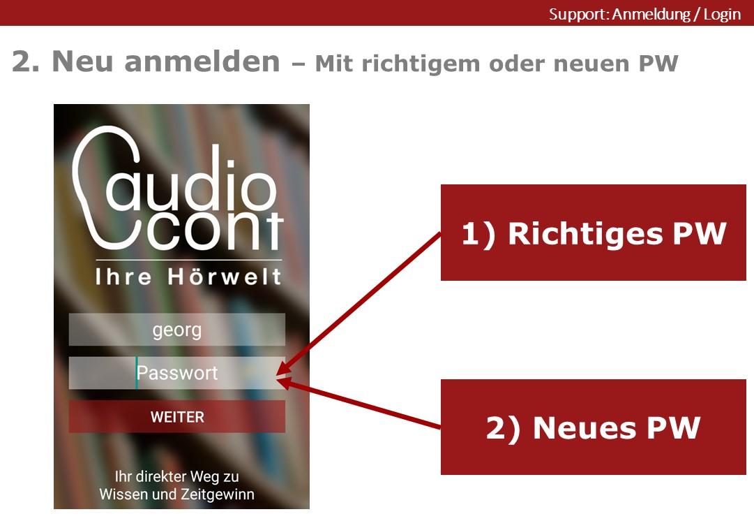 Neu Anmelden mit richtigem oder neuen Passwort in der App Audiocont