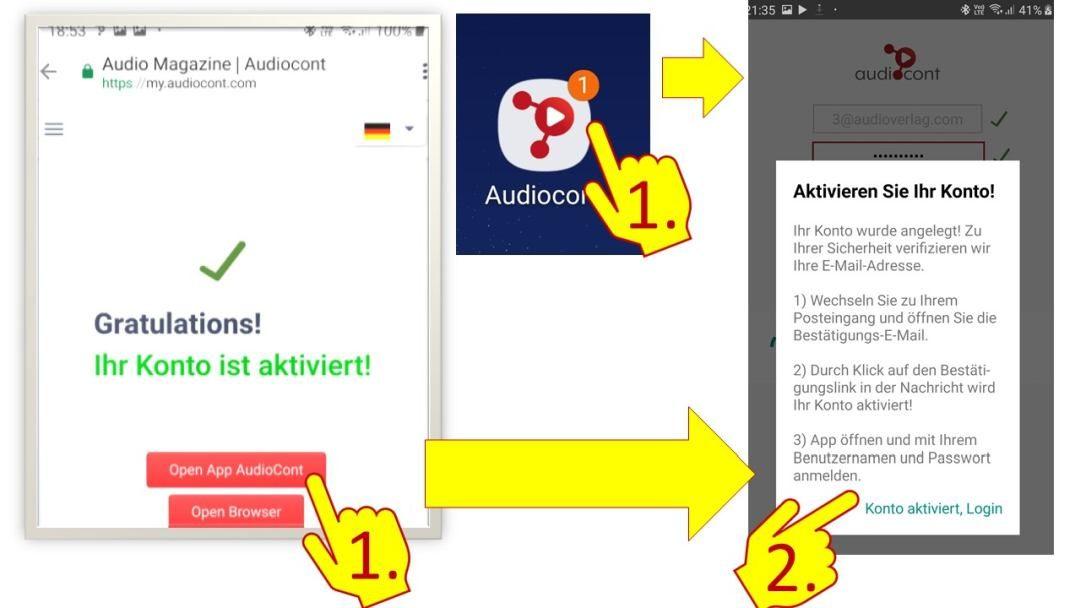 Audiocont App- Nach Kontoregistrierung App öffnen